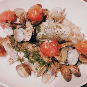 釣魚を使った料理:イシモチのアクアパッツァ